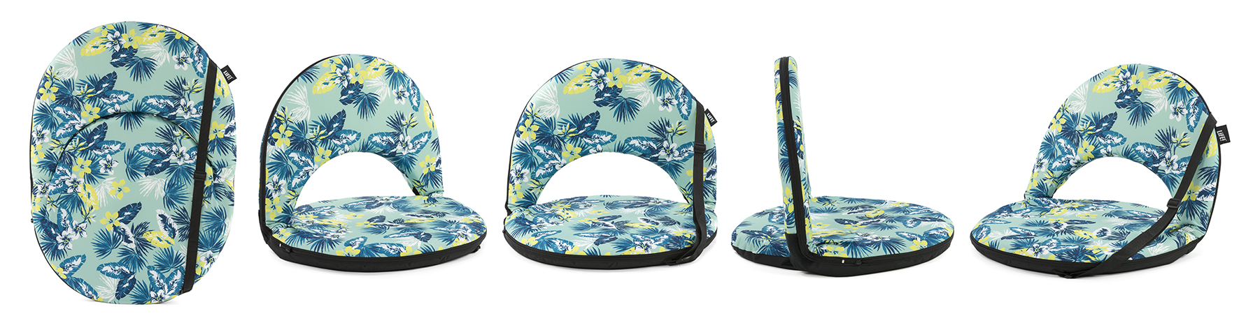 The leaf tropical print cushion recliner chair from the front and sides and also showing it laying flat with carry handle ready for easy transport