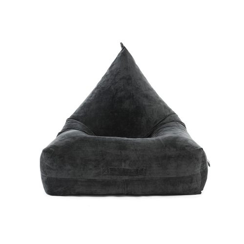 front view of the slate grey velvet luna lounge shaped bean bag