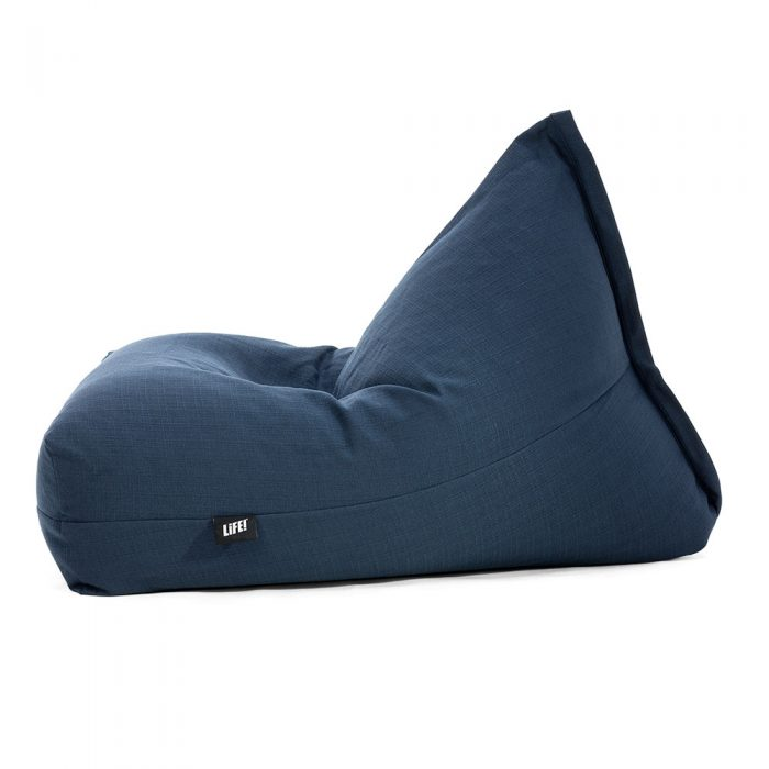 Side view of the navy linen look luna shaped bean bag