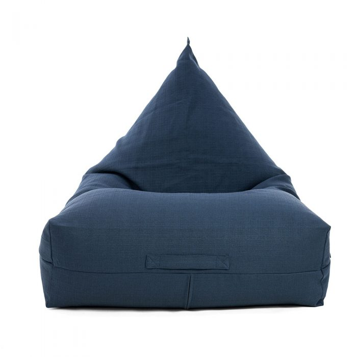 Front view of the luna lounge shaped bean bag in navy linen look fabric