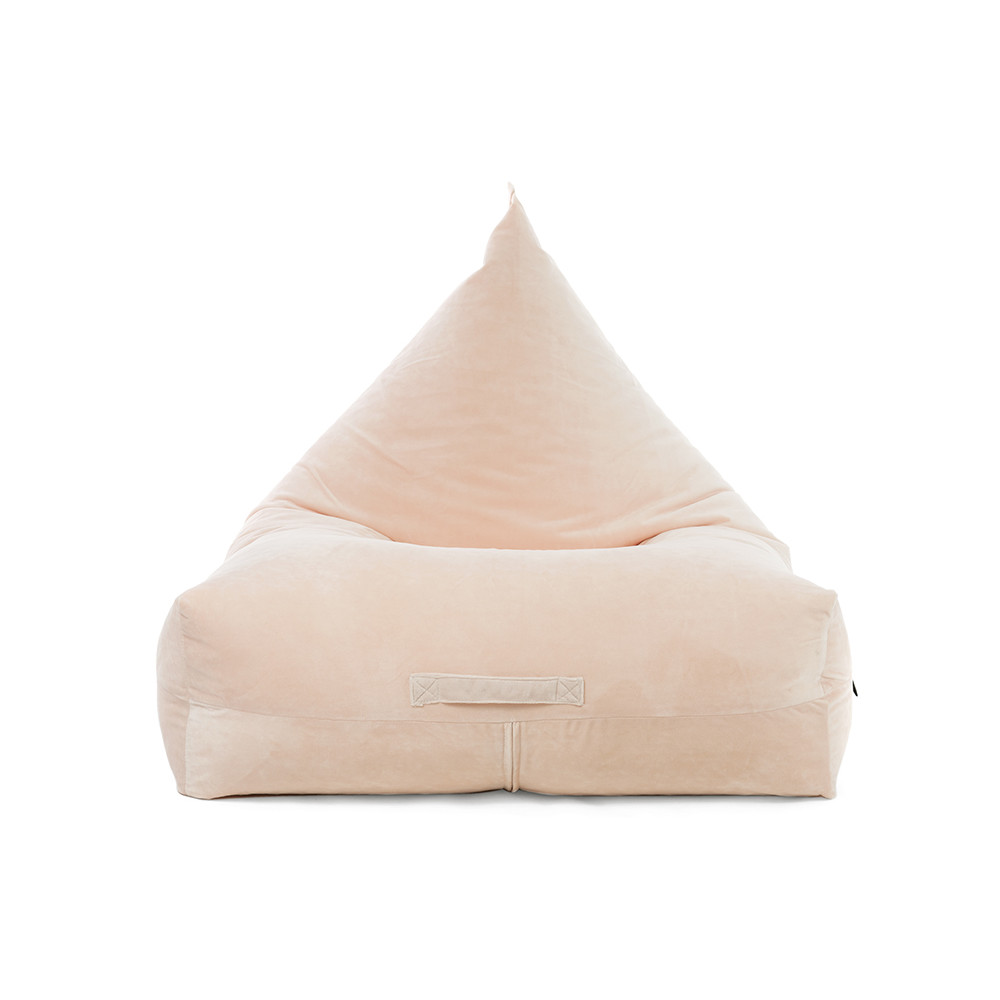 Front view of the peach pink velvet luna lounge shaped bean bag