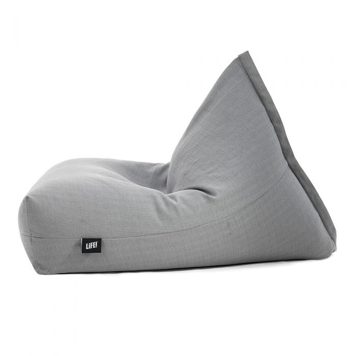 Side view of the grey linen look luna bean bag