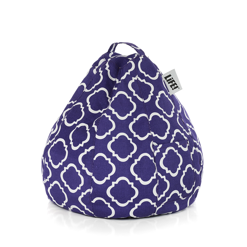 A purple violet iCrib with white geometric print showing the carry handle and storage pocket