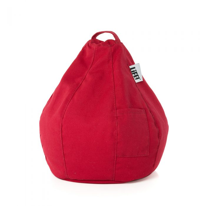 The bright cherry scarlet red iCrib with carry handle and storage pocket.