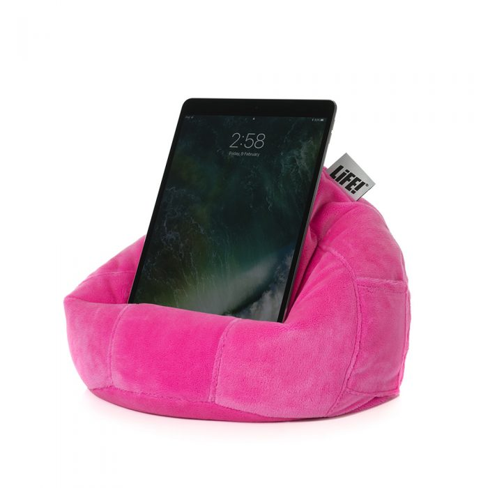 A tablet sits securely in the iCrib tablet holder book rest bean bag