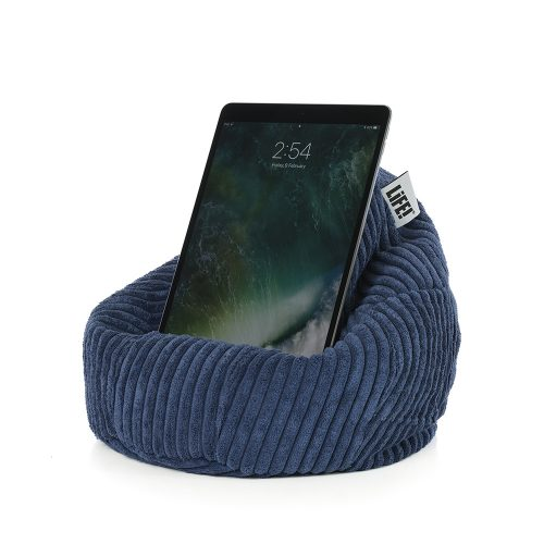 An iPad rests comfortably in the cordory catalina blue iCrib tablet stand book rest bean bag