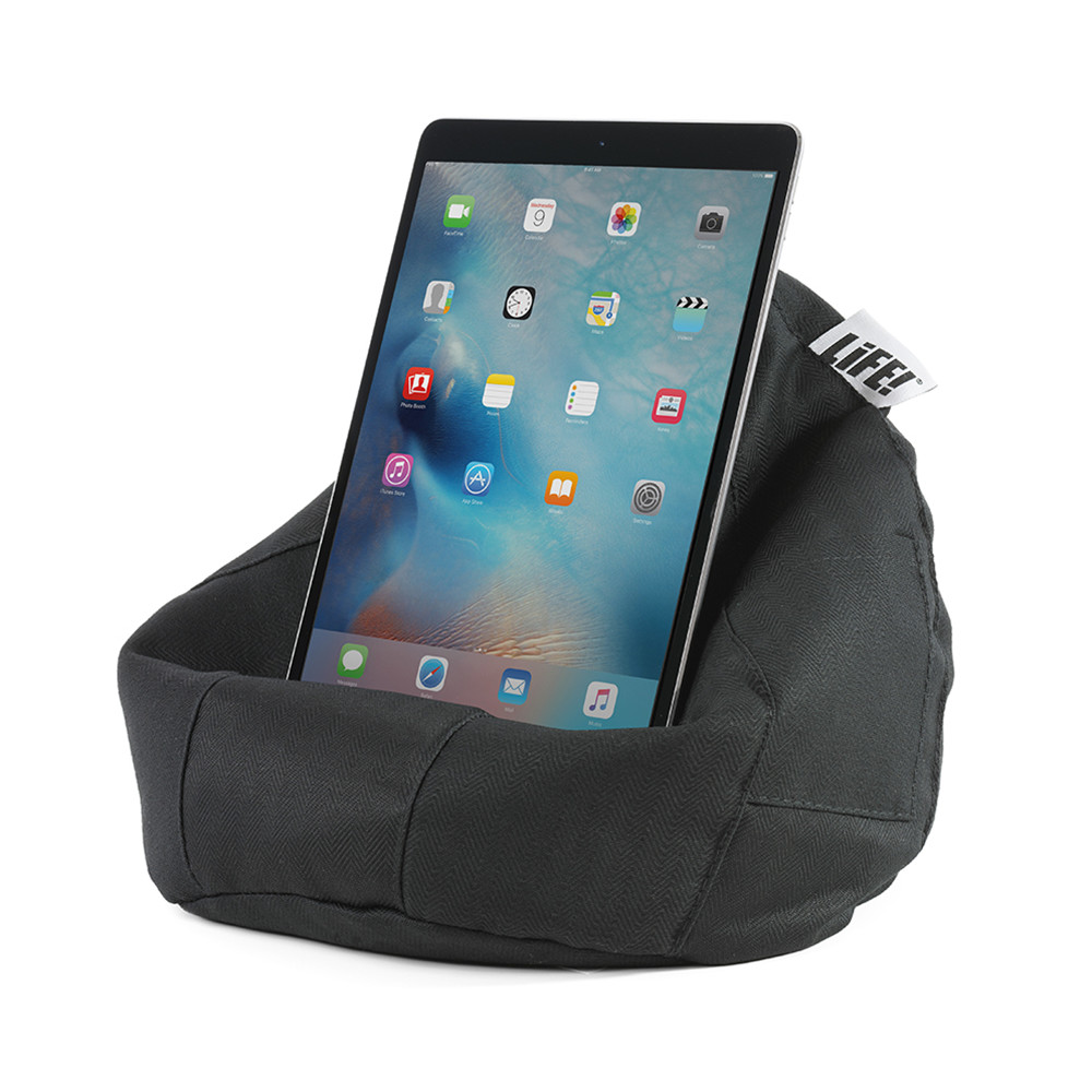 Black herringbone print iCrib tablet holder ipad cushion