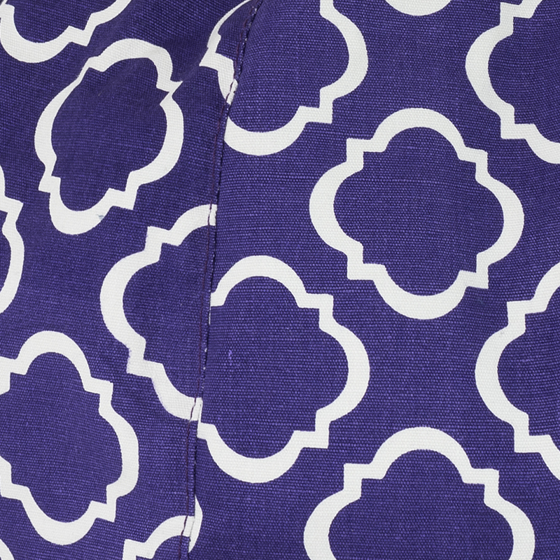 Close up of the purple violet fabric with the white geometric pattern