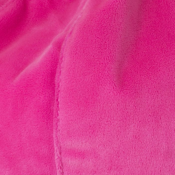 Close up of the pink faux fur material