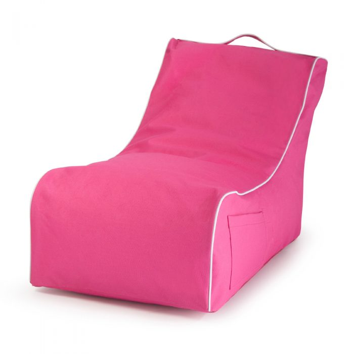 Pink kids size coastal lounge bean bag with storage pocket, handle and contrast white piping trim