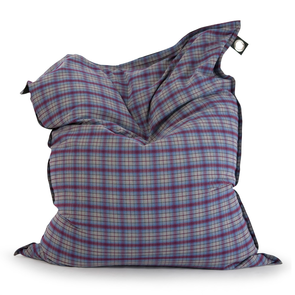 large rectangle pillow shaped super sized bean bag in flannelette check print in purple and grey