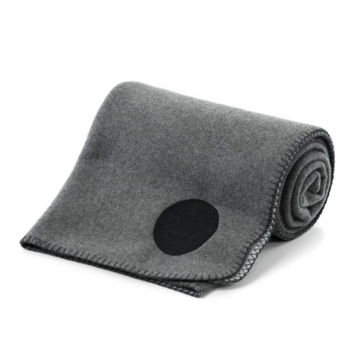 designer grey fleece blanket rug rolled