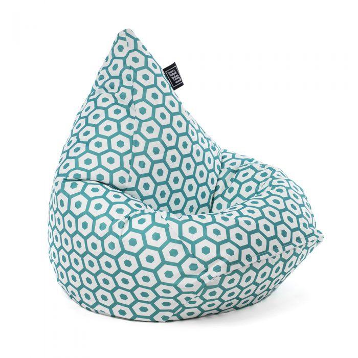 Green mint geometric print tear drop shaped bean bag