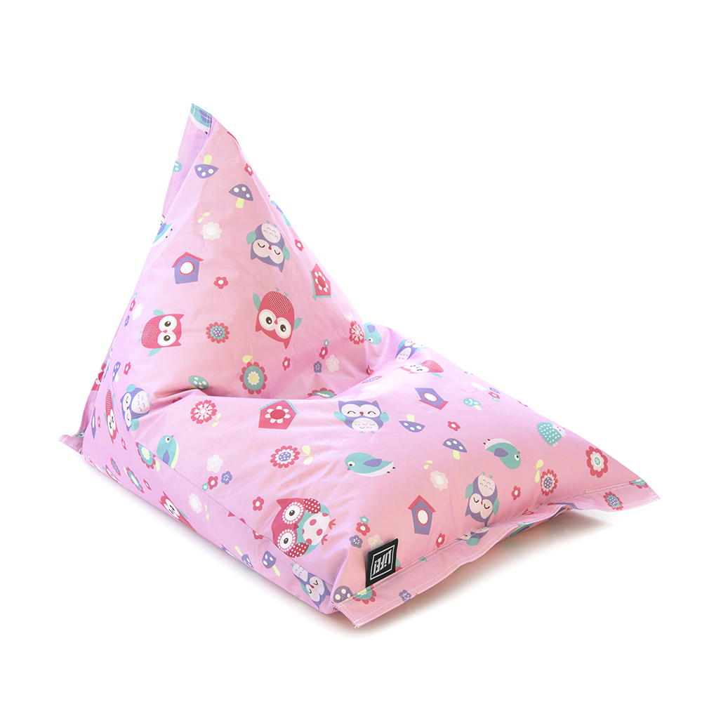 A pink sunny boy shaped bean bag is featured with a playful floral design featuring owls.