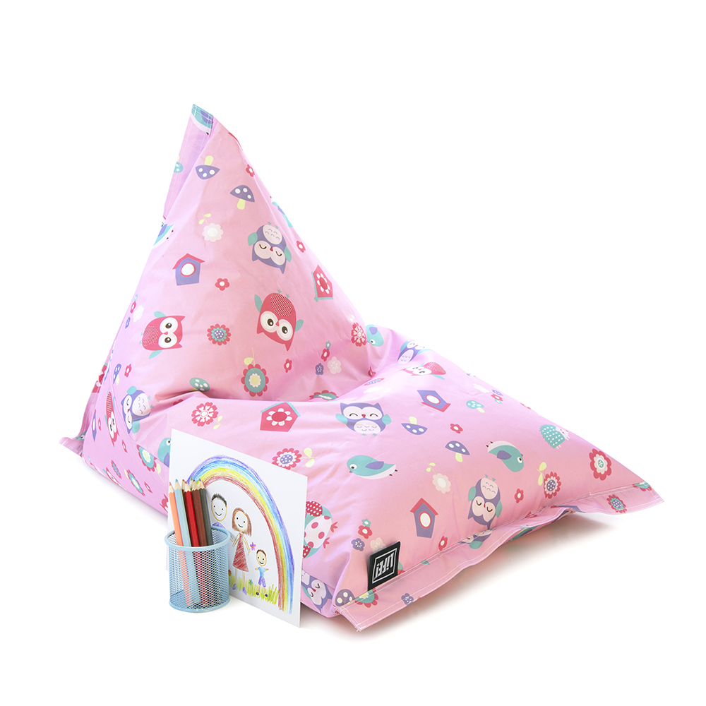 Pencils and rainbow drawing rest against a pink owl print sunny boy shaped kids bean bag