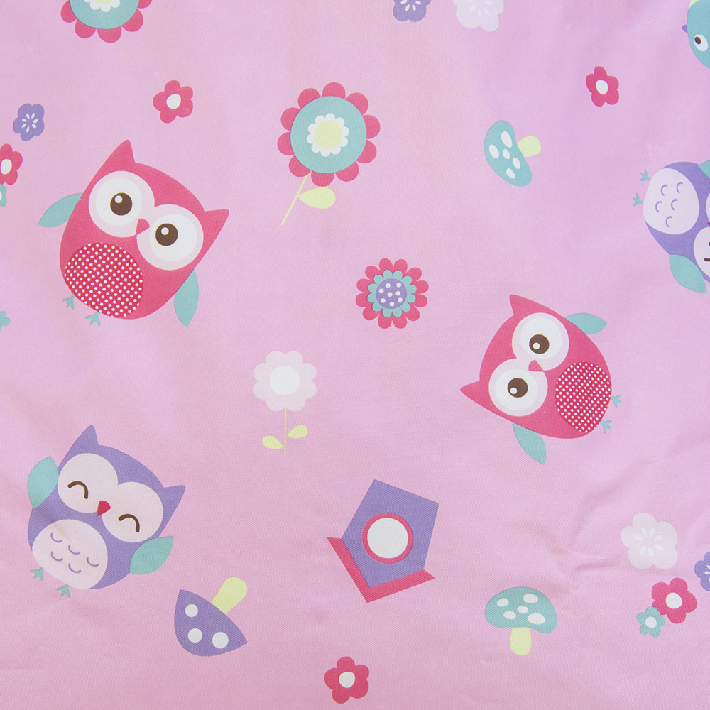 Close up of the owl pattern printed on pink background on the kids bean bag