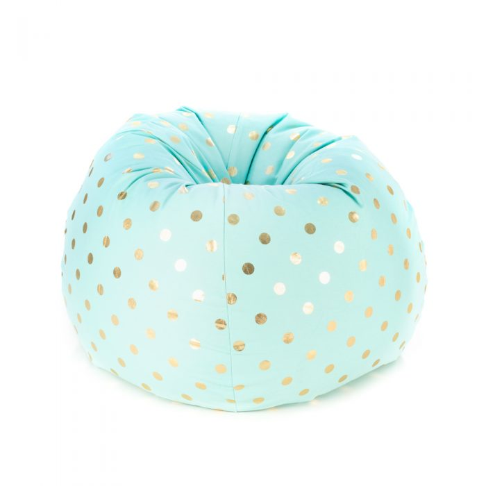 Tear drop shaped bean bag with metallic gold coin print on powder blue turquoise fabric