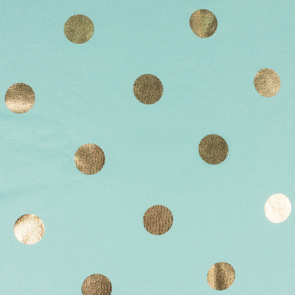 Close up of the metallic gold coin dot spot print on turquoise powder blue fabric