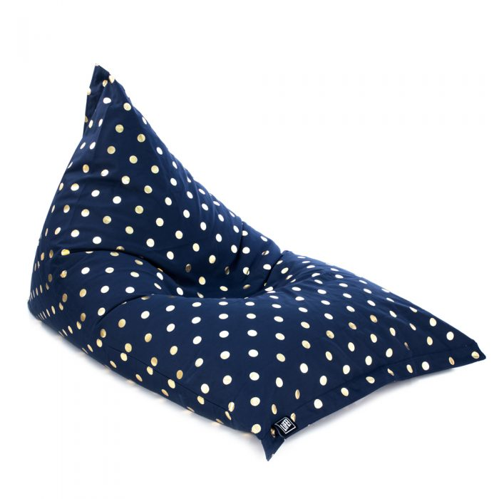 Oblique view of the sunnyboy shaped bean bag in navy metallic gold coin dot spot print