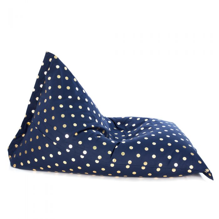 Side view of sunnyboy shaped bean bag with navy gold coin print