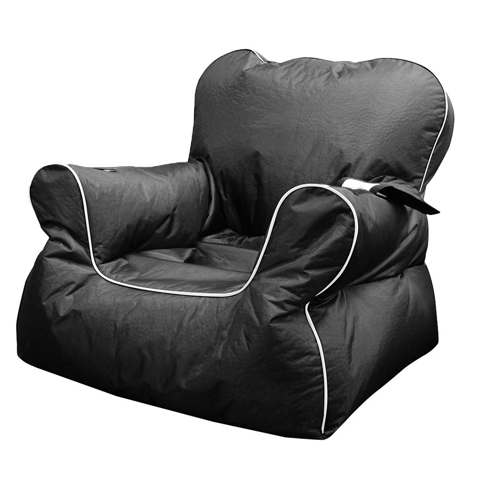 Black armchair shaped bean bag