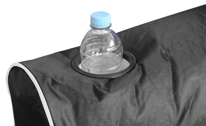 Close up of the drink holder in the arm of the black chill out arm chair shaped bean bag