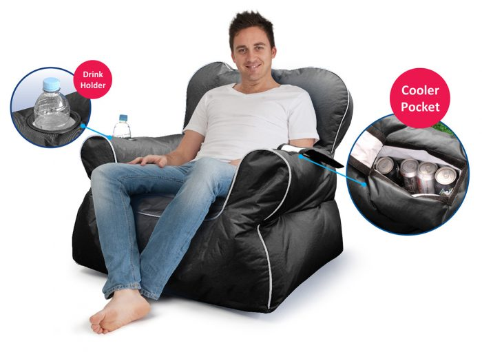 Close up of the cooler pocket and drink holder in the chill out black arm chair bean bag