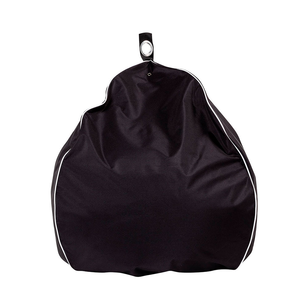 Black outdoor patio teardrop bean bag with white contrast piping trim