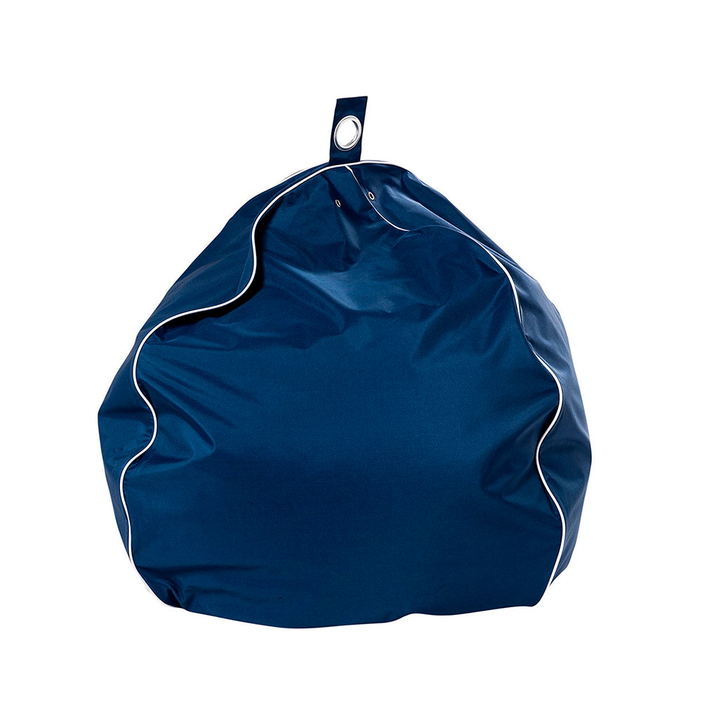 Blue outdoor patio teardrop bean bag with white contrast piping trim