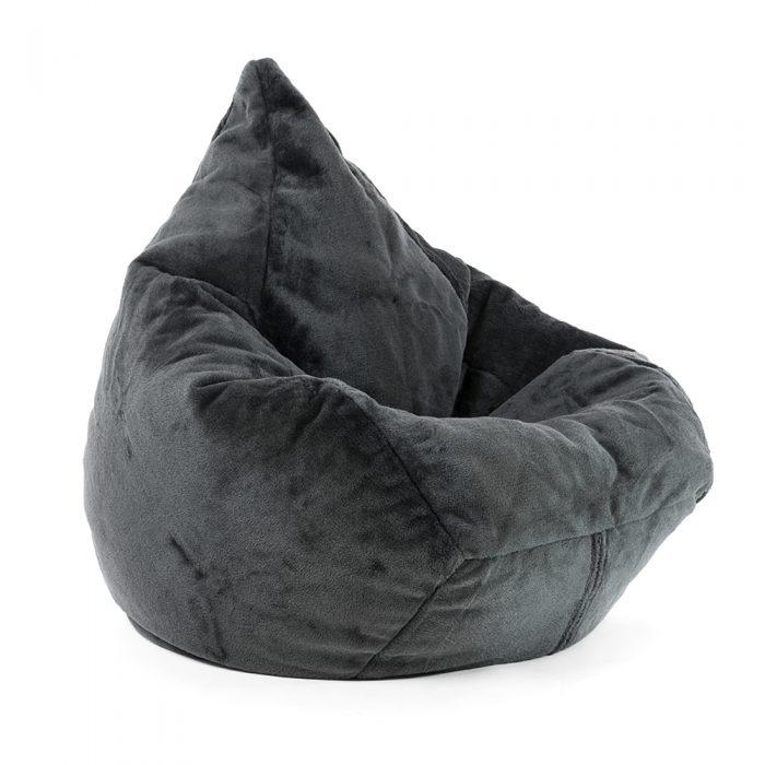 Supersize tear drop shape bean bag in slate grey faux fur