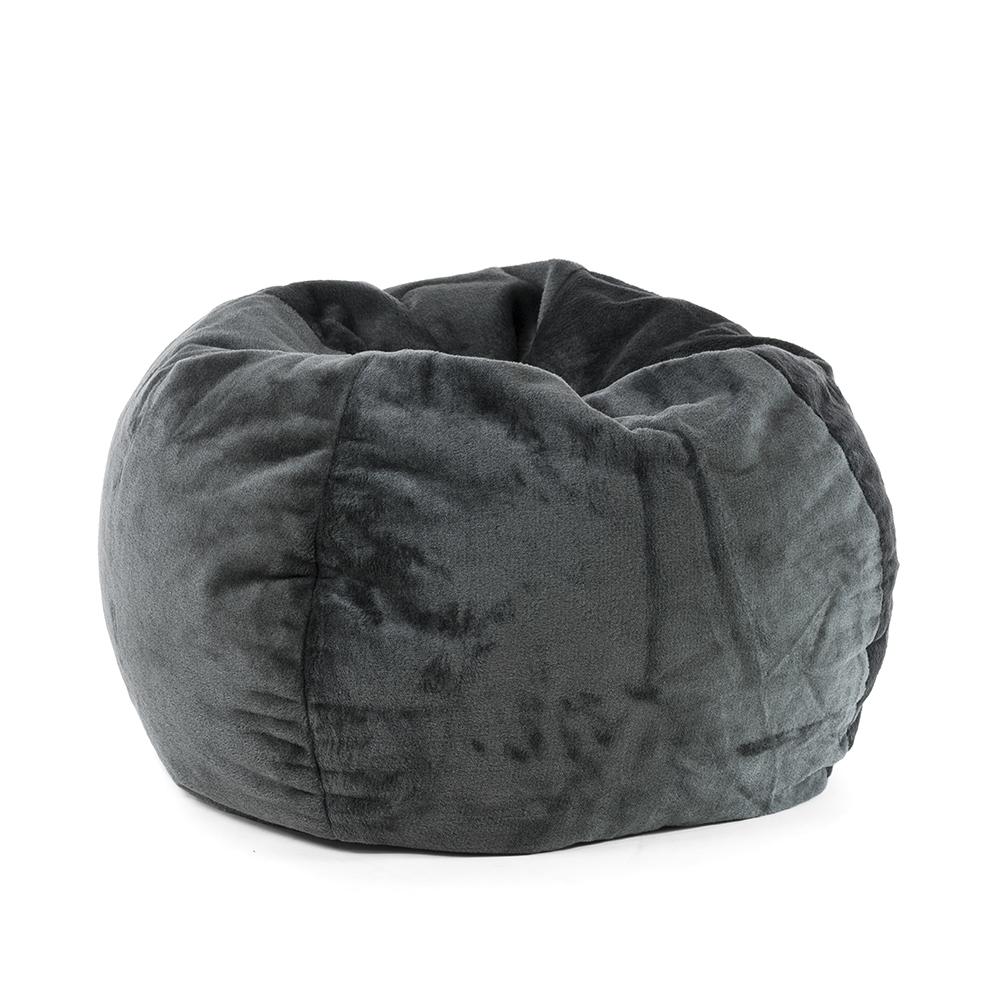 Super size slate grey faux fur tear drop shaped bean bag