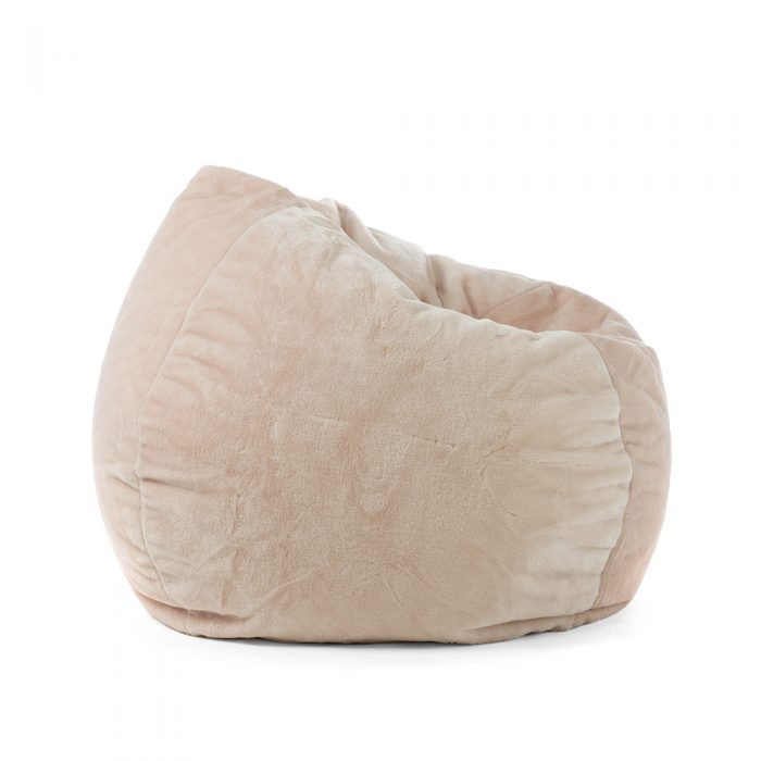Super size peach pink faux fur tear drop shaped bean bag