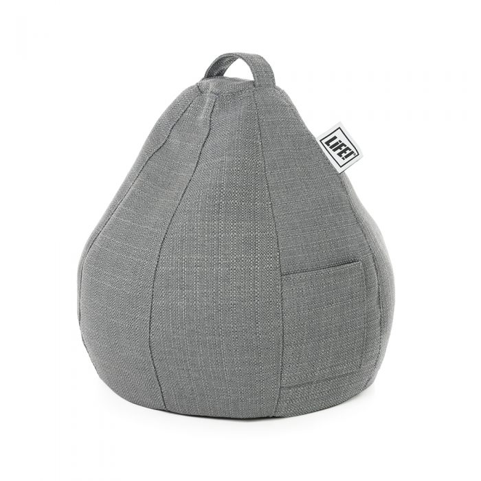 The grey linen look iCrib showing its handle and storage pocket