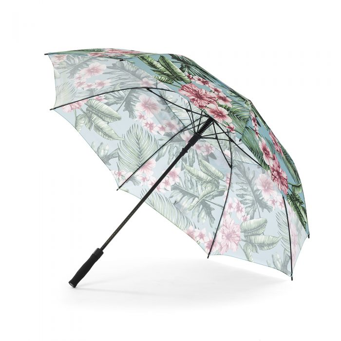 The belvedere print large golf rain umbrella shown from the side displaying black handle and hardware.