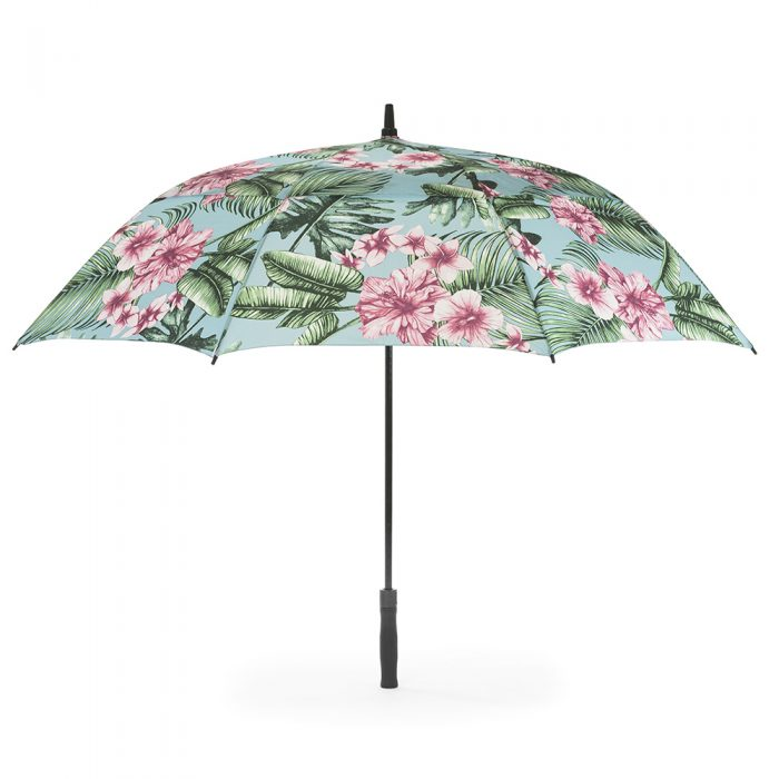 The belvedere large rain golf umbrella shown open from the side. The canopy is made from a stylish tropical print material.