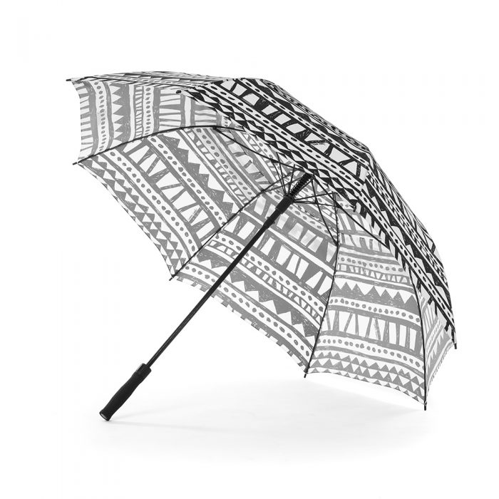The large Bermuda print rain golf umbrella shown open from the side displaying the black handle and hardware. The print is a black and white geometric.