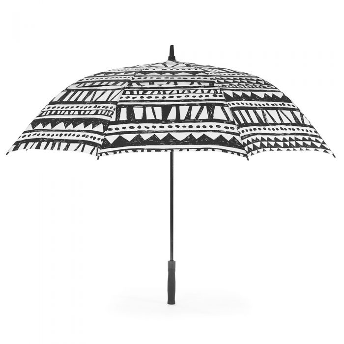 The bermuda print rain golf umbrella open from the side showing the canopy shape. The print is a geometric black and white.