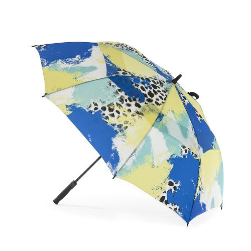Tier print rain golf umbrella shown open from the side. The print is green, blue, yellow and white with black splotches.