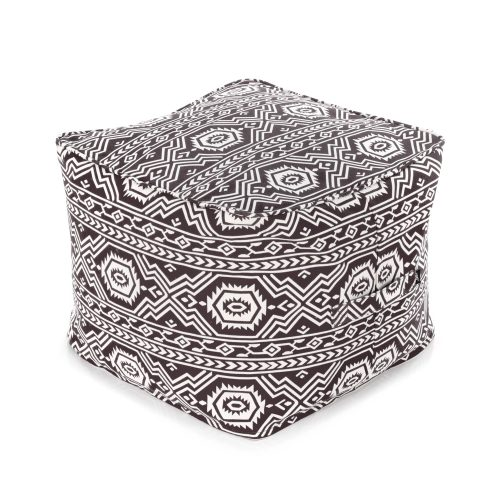 Black ottoman with white geometric tribal aztec pattern