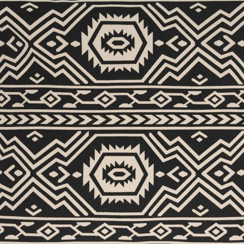 Close up of the black fabric with white aztec, tribal, geometric print