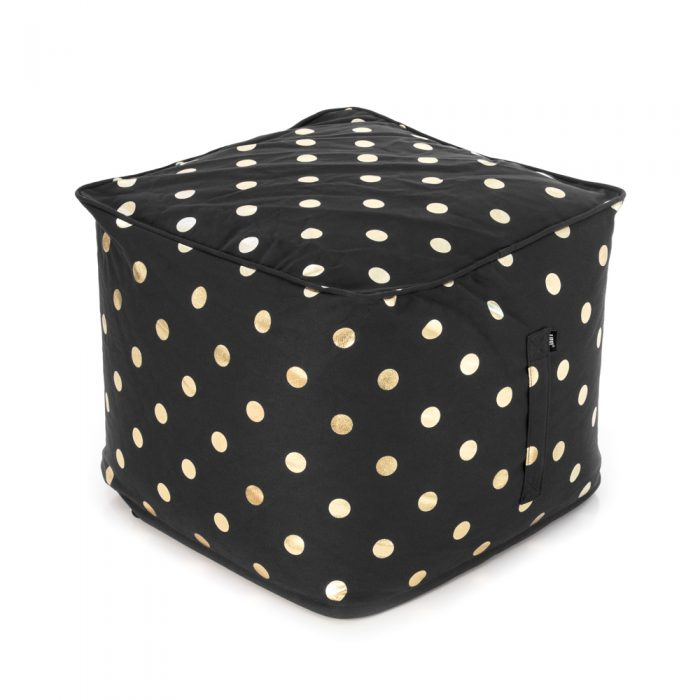 Black ottoman with a metallic gold coin print