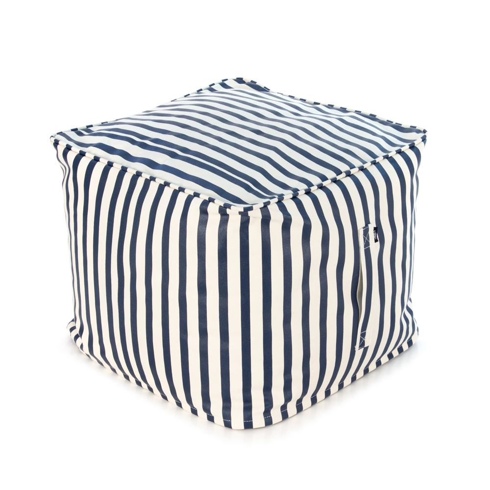 A blue and white nautical striped ottoman