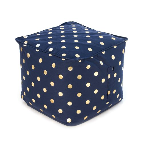 Navy blue ottoman with metallic gold coin dot print