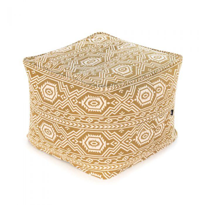 A geometric tribal aztec pattern ottoman in mustard tan yellow