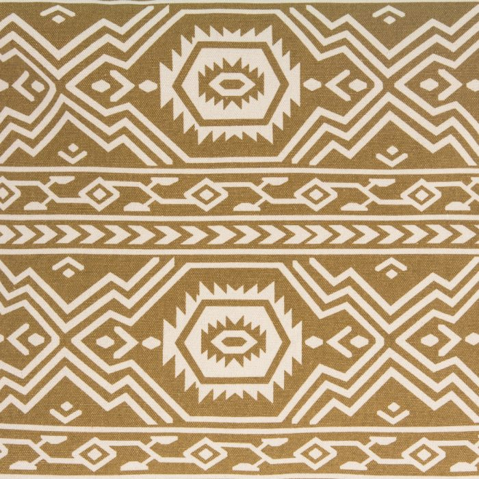 Close up of the mustard tan yellow aztec tribal geometric print fabric