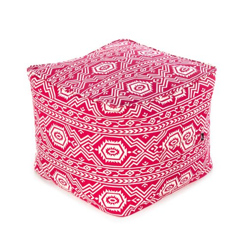 Red ottoman with geometric, tribal, aztec print pattern
