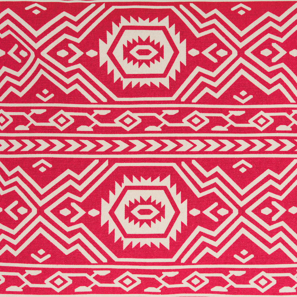 Close up of the red with white aztec geometric tribal print fabric