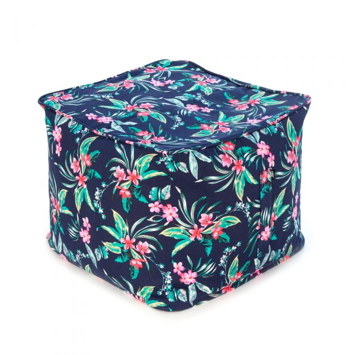 Tropical print on navy base fabric ottoman