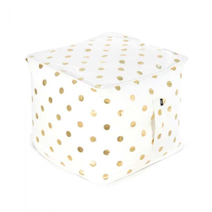 White ottoman with metallic gold coin large dot print