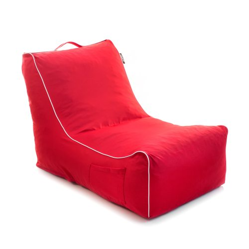 Oblique view of the red coastal lounge bean bag showing the handy storage pocket and handle and white contrast piping trim